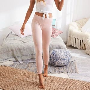pink aerie play high-waisted pocket leggings